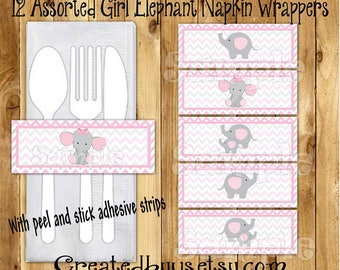 Baby Elephant Napkin wrappers Elephant Baby girl shower Decor Baby elephant napkin bands Paper napkin ring holder utensil wraps 12 printed