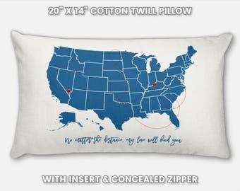 Long Distance Relationship Gift Pillow Case, Military Gifts for Him, Personalized Boyfriend Present for Men, Friendship Gift for Best Friend
