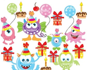 ON SALE INSTANT Download. Cm_27_monsters. Cute birthday monsters clip art. Personal and commercial use.