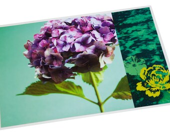 Placemat laminated hydrangea purple and yellow graphics