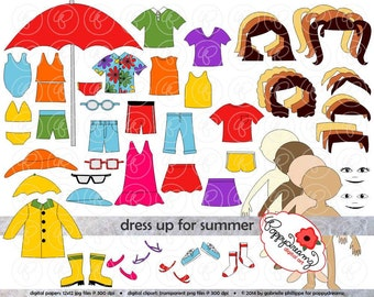 Dress Up for Summer Clothing and Paper Doll Clipart Set: Digital Clip Art Pack (300 dpi) Swim Suit Rain Coat Sundress Sunglasses TShirt