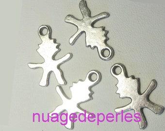 3 charms Tibetan silver child silhouette pendant