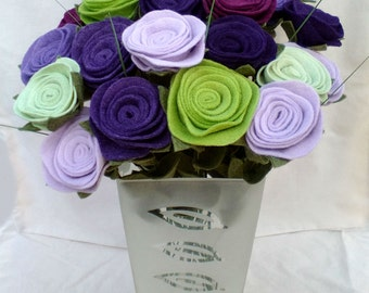 Made to order felt flower bouquet, dozen felt roses, dozen felt flowers, felt bouquet, felt flowers, long-stemmed roses, felt roses