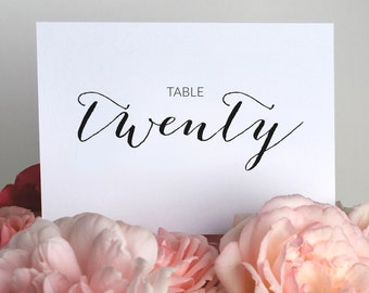 Table Numbers 1 to 24 - Wedding Table Numbers - Printable