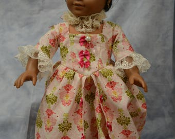 18 in doll clothes Marie Antionette gown pink beige bows neck ruffle shoes long gown vintage look