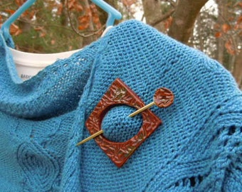 Shawl Pin jewelry Scarf pin Sweater pin Gift for her Gift under 20 Terracotta