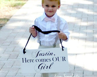 Uncle Here comes our Girl wedding sign, wedding signage, ring bearer sign, Here comes the Bride sign, Custom wedding sign, Wedding decor