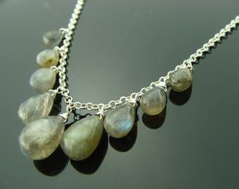 Genuine Flash Labradorite 925 Sterling Sliver Necklace