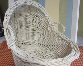 Wicker bassinet white doll, VINTAGE Wicker Baby Bassinet, Mid Century basket with handles, vintage white wicker basket baby