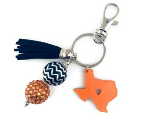 Texas Key Chain, State of Texas, Beaded Key Chain, Tassel Key Chain, Purse Charm