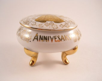 Beautiful White Trinket Ring Box with Two Gold Bells on Lid for 50th Anniversary