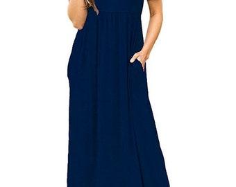 Women Short Sleeve Loose Plain Long Maxi Casual Dress With Pockets
