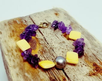 Amethyst bracelet mother of Pearl and Tahitian Pearl