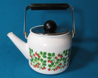 Small Enamel Tea Kettle with Strawberry design