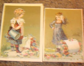SALE 2 Pieces of Victorian Scrap (Girls with Flowers)