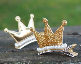 Gold glitter Crown and pearl decorated on alligator clip - litter princess hair clip, gold tiara, birthday gift, holiday gift, under 10