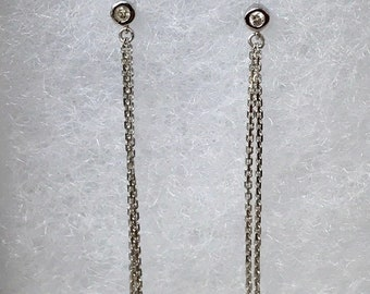 Bezel diamond chain earrings dangle drop earrings double chain earrings round diamond stud earrings