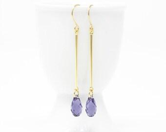 Purple Crystal Earrings - Purple Earrings - Crystal Earrings - Gift For Women - Long Earrings - Elegant Earrings - Wedding Earrings