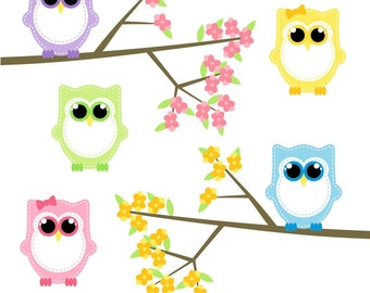 Baby Owl Clipart, Owl Clip Art, Digital Owls, Spring