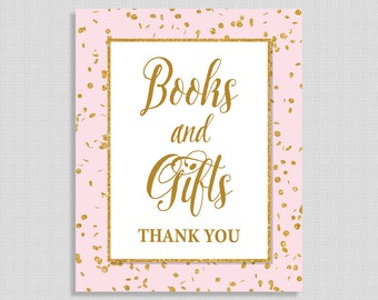 Books and Gifts Baby Shower Sign, Pink & Gold Glitter Confetti Shower Table Sign, Baby Girl, INSTANT PRINTABLE