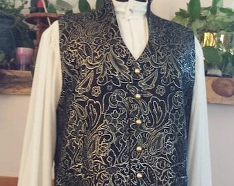 Regency or Victorian/Steampunk black and gold brocade vest