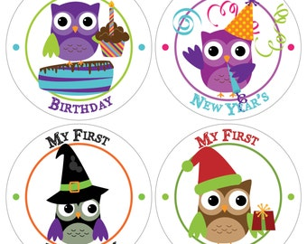 9 Holiday Baby Milestone Waterproof Glossy Stickers - Choose your Holidays - H002