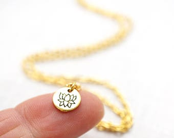 Mothers Day Gift Mini Gold Disk Necklace Tiny Gold Lotus Flower Necklace Dainty Lotus Necklace Petite Pendant delicate Charm Chakra Yoga