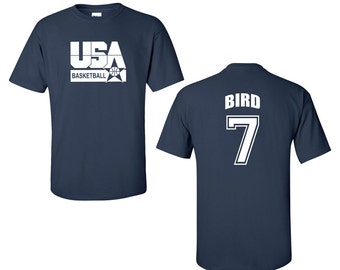 RETRO USA Men's Basketball Larry Bird # 7 Front & Back Men's Tee Shirt 1461