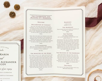 4x9 Black Tie Formal Classic Elegant Folding Wedding Program in Ivory & Black (Other Colors Available)