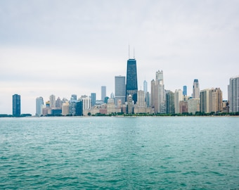 The Chicago skyline, seen from North Avenue Beach in Chicago, Illinois. Photo Print, Metal, Canvas, Framed.