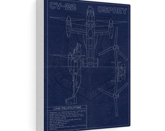 CV-22 Vintage Style Blueprint Canvas Gallery Wraps