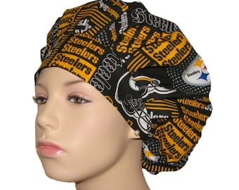 Scrub Hats-Pittsburgh Steelers Patchwork Print Fabric-ScrubHeads-Surgical Scrub Caps-Scrub Caps-Women's Scrub Hats-Steelers Scrub Hat
