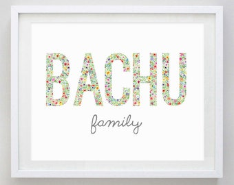 Custom Family Name Floral Watercolor Print