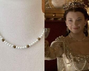 Anne Boleyn White Pearl Antique Brass Beaded Choker Necklace Renaissance Tudors