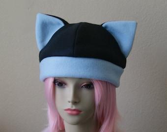 Fleece Cat Hat / BLACK + BABY BLUE Beanie Style Cap Cute Anime Neko Cosplay Cat Ears Kitty Ears Kawaii Jrock Goth Punk Japanese Fashion