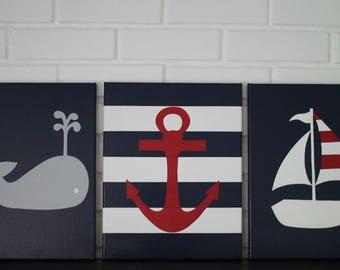 Baby Nautical, Nautical Nursery, Nautical Nursery Painting, Sailboat Nursery, Nautical Name Sign, Nautical Name Nursery Letters
