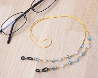 Gemstone glasses chain - Rose quartz and blue glass bead gold eyeglasses chain cord | Pretty glasses holder | Eyewear fashion accessories