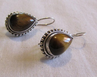 Sterling Silver and Tigereye Wire Dangle Earrings (J)