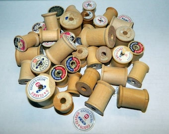 Vintage Wood Thread Spools - Various Sizes & Brands - Vintage Craft Supply - Farmhouse Cottage Decor