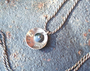 FAITH Oxidized Sterling Silver Small Resin Mustard Seed Charm Matt 17:20 Hand Stamped Disc Oxidized Sterling Silver Necklace