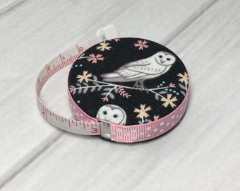 Barn Owls (B) Fabric Covered Retractable Tape Measure