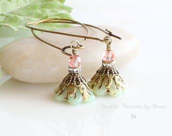 Brass Earrings, Green Earrings, Czech Glass Flowers, Bell Flower Earrings, Swarovski Crystals, Rhinestone Spacers, Victorian Earrings