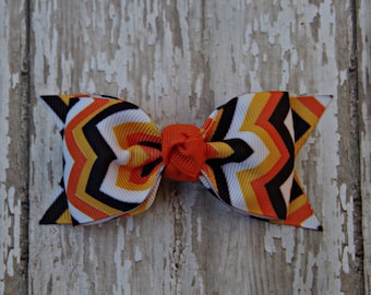 Halloween Toddler Bow Fall Toddler Bow Halloween Baby Bow Tuxedo Style Toddler Hair Bow 3 Inch Alligator Clip Baby Hairbow