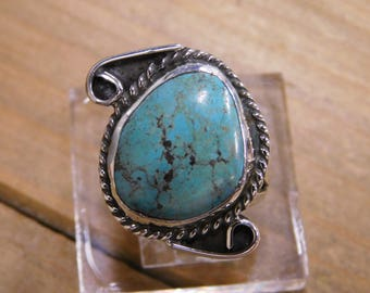 Vintage Sterling Silver Turquoise Ring Size 9.25