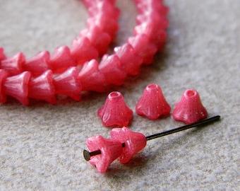 Paspberry Flower Czech Glass Beads, Baby Bell Flower Beads, Opal Raspberry, 6x5mm (50pcs) NEW