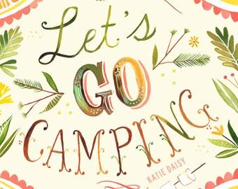 Let's Go Camping art print | Nature Wall Art | Rustic Decor