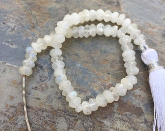 Faceted Rainbow Moonstone Rondelles, Grade A Moonstone Beads,  Large Faceted Moonstone Rondelles, 7 inch strand, 5 to 5.5 mm