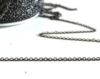 Chain metalgun fine trace, creative supply, black chain, creating jewelry, wholesale chain, brass, 1.5 mm, 1 meter
