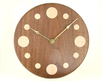 Handcrafted Walnut Wall Clock with Maple Numbers