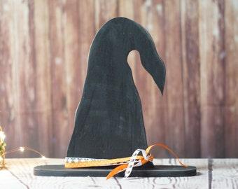 Witch Hat Shelf Sitter, Primitive Halloween Decor, Rustic Reclaimed Wood, Rustic Halloween, Fall Decor, Wood Witch Hat, Black Witch hat